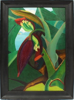 Antique American Modernist Tropical Still Life Rare Abstract Oil Painting