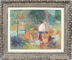 Antique California Impressionist Fruit Harvest Signed Landscape Oil Painting
