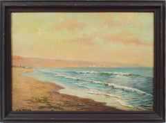 Antique California Beach Sunset Singed Impressionist Coastal Oil Painting