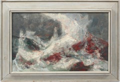 Antique American Modernist Abstract Crashing Wave Seascape Signed Oil Painting