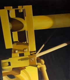 American Modern HyperRealist Painting Mary Snowden Female Industrial Yellow