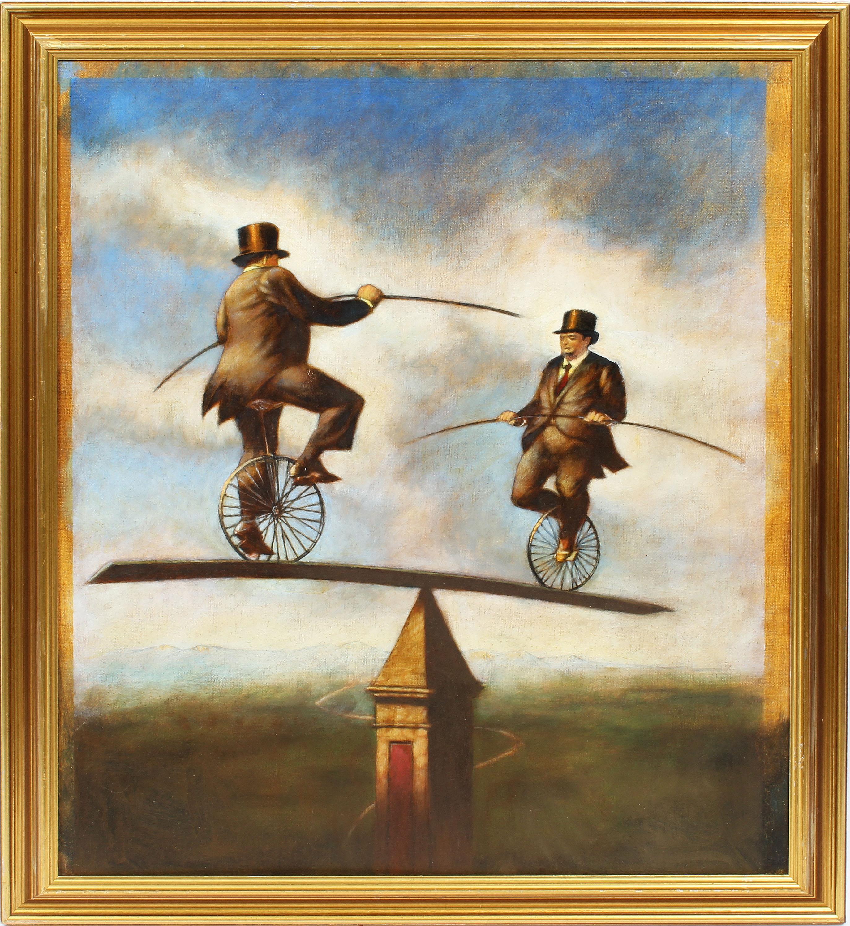 Antique American Surreal Bike Riding Fantasy Landscape Signed Original Painting
