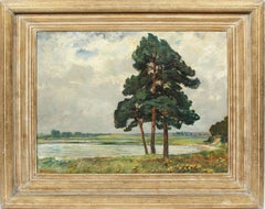 Antique German Impressionist Signed Panoramic Rare Early Landscape Oil Painting