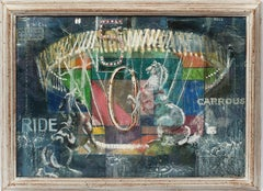 Antique American Modernist Horse Carrousel Abstract Nocturn Signed Oil Painting