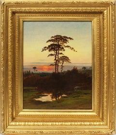 Antique Masterpiece Hudson River School Sunset Tonalist Landscape Oil Painting