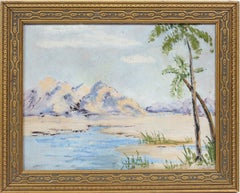 Antique American Impressionist Tropical Beach Seascape Signed Rare Oil Painting
