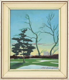 Antique American Realist Central Park New York Sunset Hopper Student  Painting