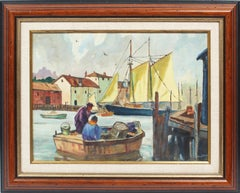 Antique American Impressionist Gloucester Harbor New England Fishing  Painting