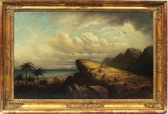 Antique American Southern School Tropical Coastal Ocean Landscape Oil Painting