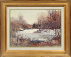 Antique American Maine Winter Impressionist River Landscape Signed Oil Painting