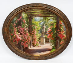 Antique French Impressionist Flower Garden Sculpture Landscape Oil Painting
