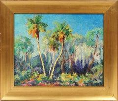 Antique American Impressionist Tropical Palm Tree Original  Beach Oil Painting