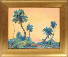 Antique American Impressionist Tropical Florida Beach Scene Signed Oil Painting