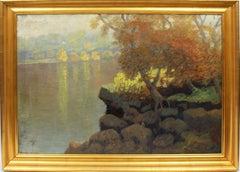 Large Antique American Impressionist Signed Summer River Landscape Oil Painting