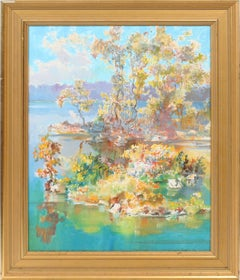 Antique American Impressionist Tropical Summer Bright Seascape Oil Painting