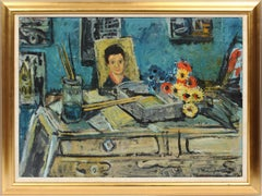 Antique American Modernist Artist Studio Interior Portrait Signed Oil Painting
