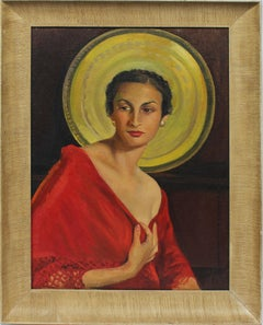 Antique American Art Deco Black Woman Portrait Signed Original Rare Oil Painting