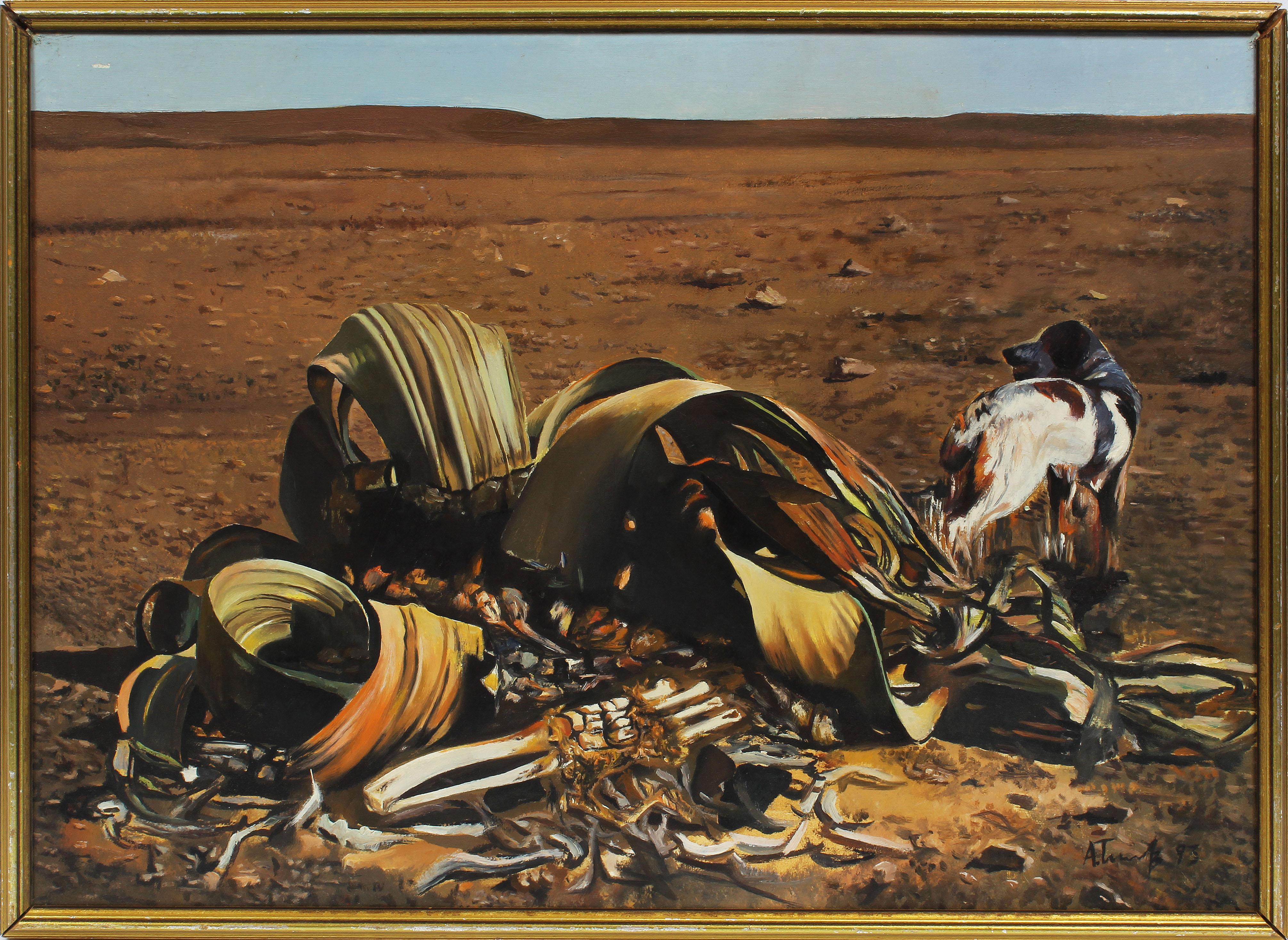 Vintage Surreal Trompe L'Oeil Dog Landscape Signed Original Oil Painting