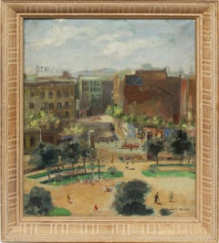 Antique Impressionist Female Artist Ashcan School Signed Cityscape Oil Painting