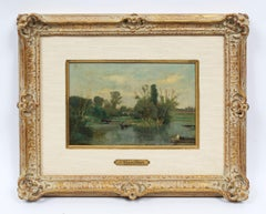 Antique French Barbizon Signed Original River Boat Landscape Rare Oil Painting