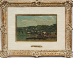 Antique French Barbizon Coastal Town Original Impressionist Boat Oil Painting