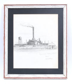 Modern American Industrial Drawing Factory Graphite Framed Black and White