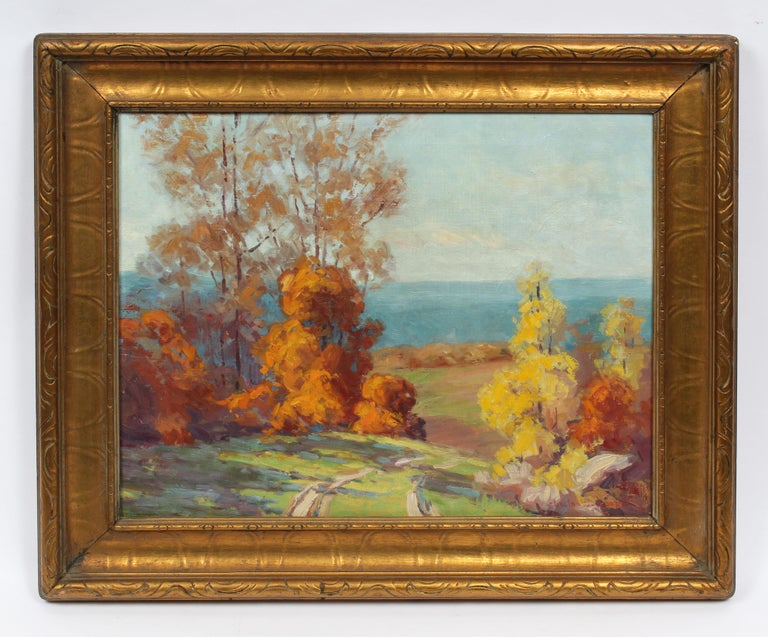 Antique Female Impressionist Fall Landscape Signed Original Indiana Oil Painting - Brown Landscape Painting by Leota Williams Loop