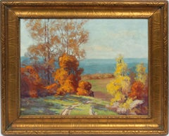 Antique Female Impressionist Fall Landscape Signed Original Indiana Oil Painting