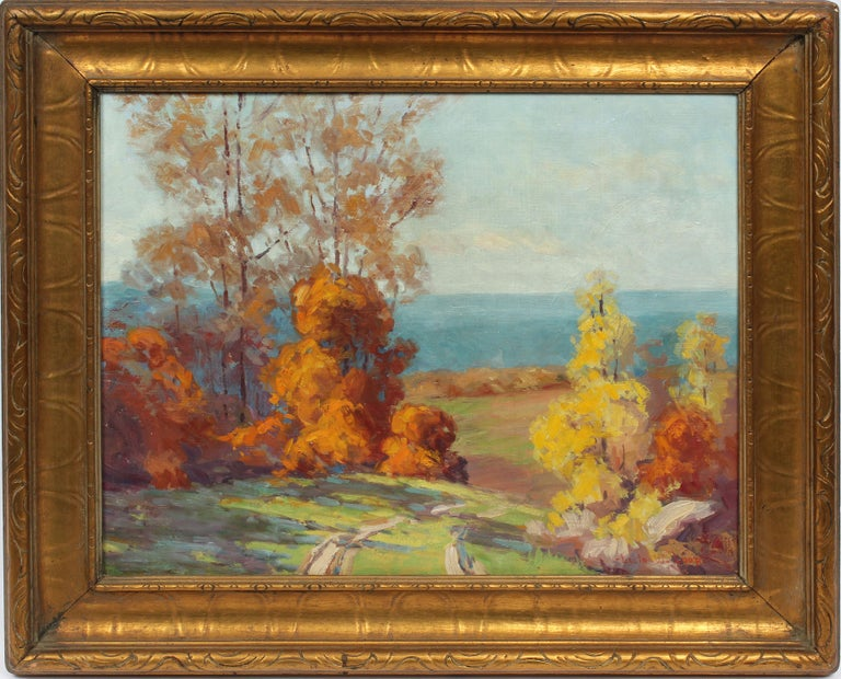 Leota Williams Loop Landscape Painting - Antique Female Impressionist Fall Landscape Signed Original Indiana Oil Painting