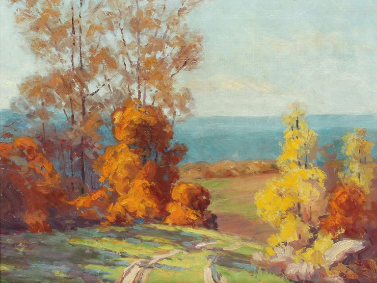 Antique impressionist oil painting of an Indiana landscape by Leota Williams Loop (1893 - 1961).  Oil on canvas, circa 1925. Signed.  Displayed in a period giltwood frame.  Image, 20