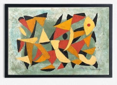 Abstract American Geometric Oil Painting Martin Rosenthal 64 Mid Century Modern