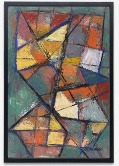 Abstract American Geometric Oil Painting Martin Rosenthal 60 Mid Century Modern