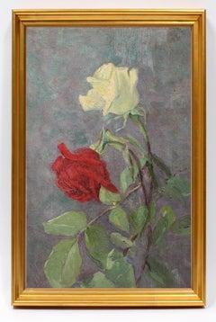 Antique American Oil Painting Still Life Flora Rare 19th Century New York Jersey