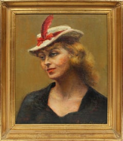 Antique Early American Signed Female Modernist Portrait Original NY Oil Painting