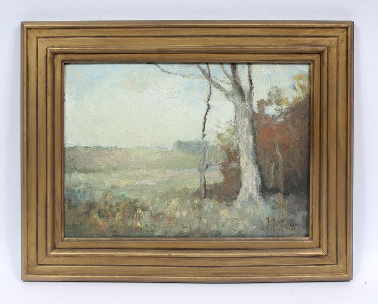 Antique Early American New York Impressionist Landscape Signed Oil Painting - Brown Landscape Painting by Fernando A. Carter
