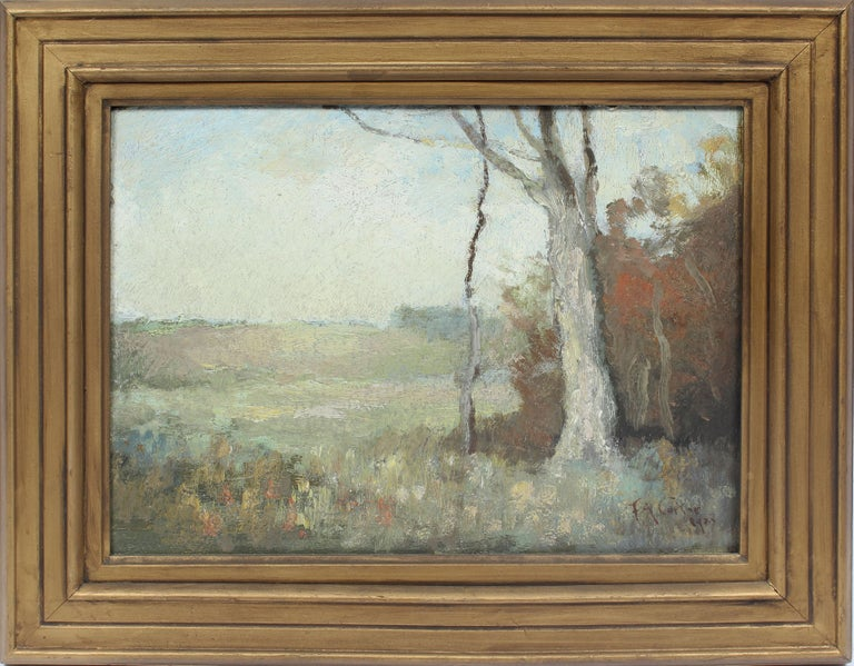 Fernando A. Carter Landscape Painting - Antique Early American New York Impressionist Landscape Signed Oil Painting