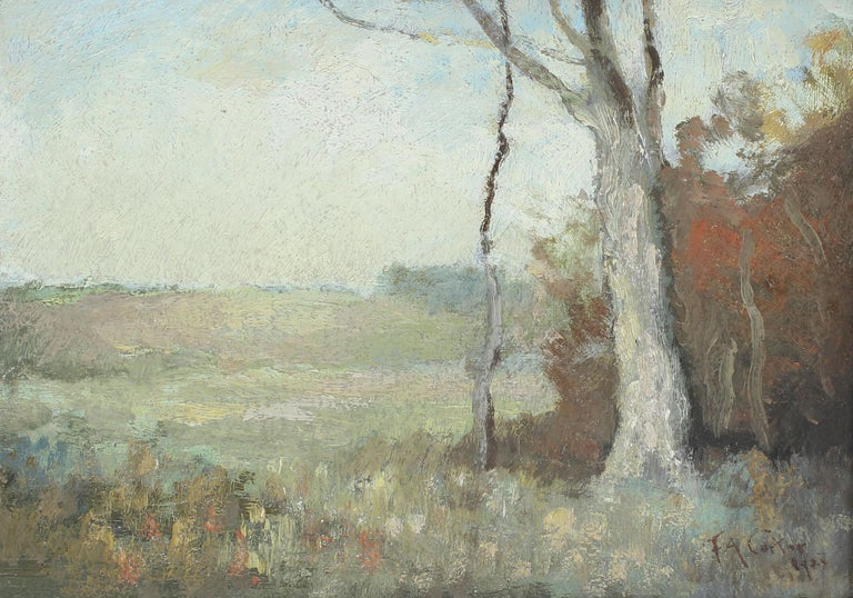 Antique American impressionist landscape oil painting by Fernando A. Carter (1855 - 1931).  Oil on canvas, circa 1890. Signed.  Displayed in a giltwood frame.  Image, 14