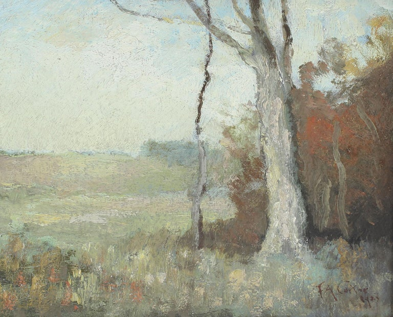 Antique Early American New York Impressionist Landscape Signed Oil Painting For Sale 1
