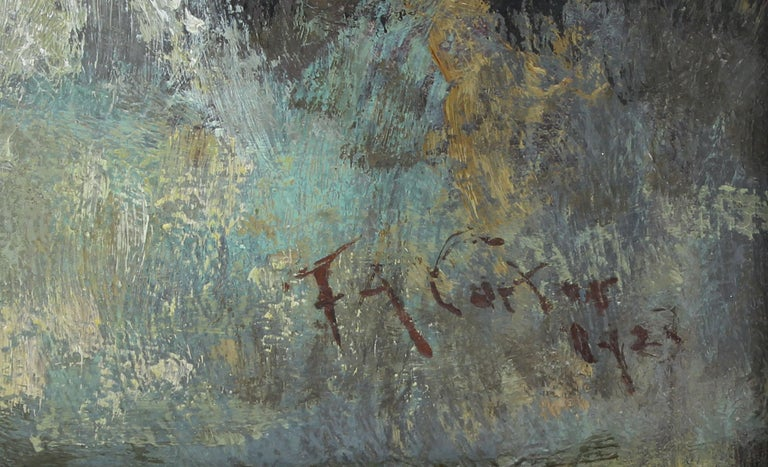 Antique Early American New York Impressionist Landscape Signed Oil Painting For Sale 2