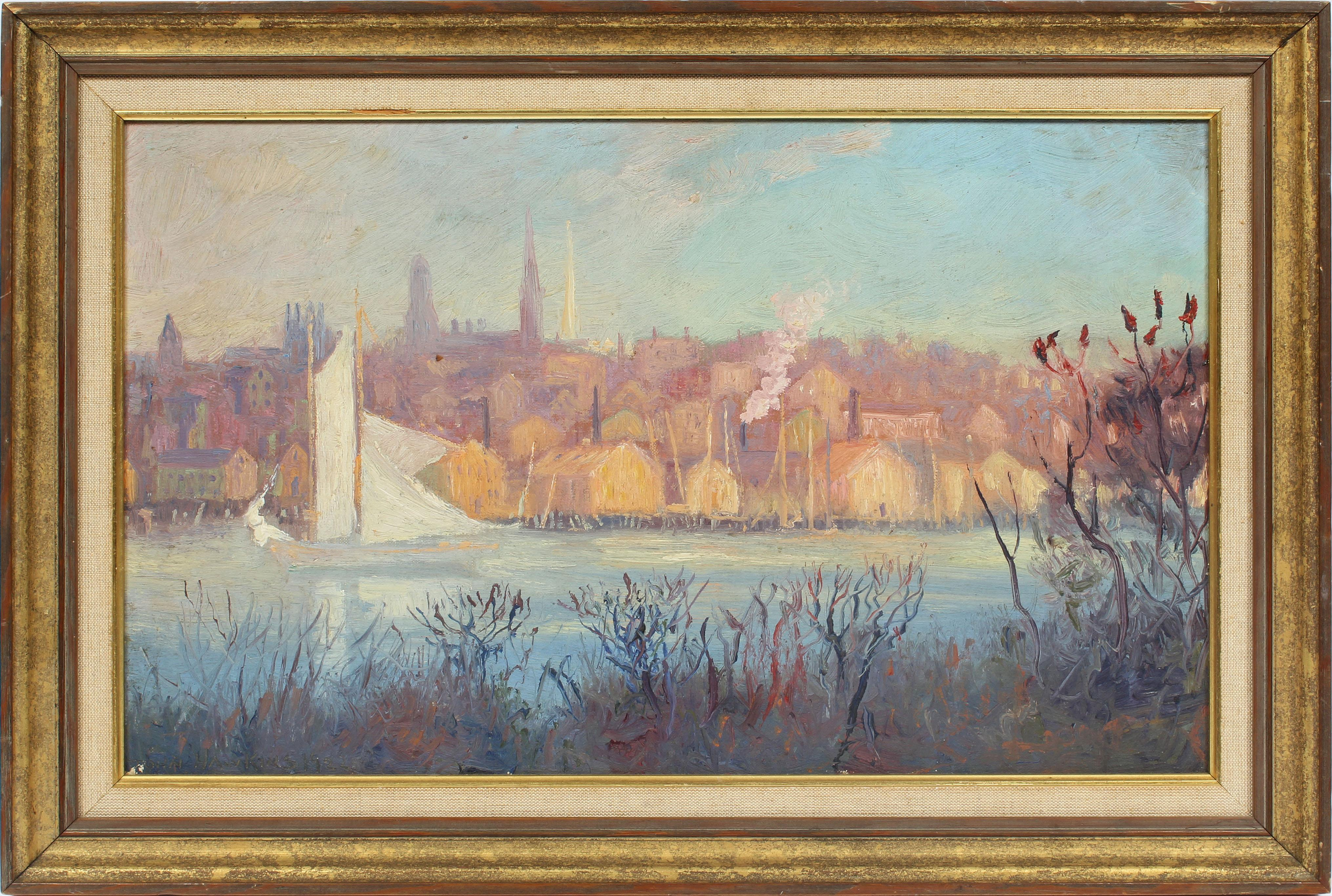 Antique Early American Impressionist Industrial River Cityscape NY Oil Painting