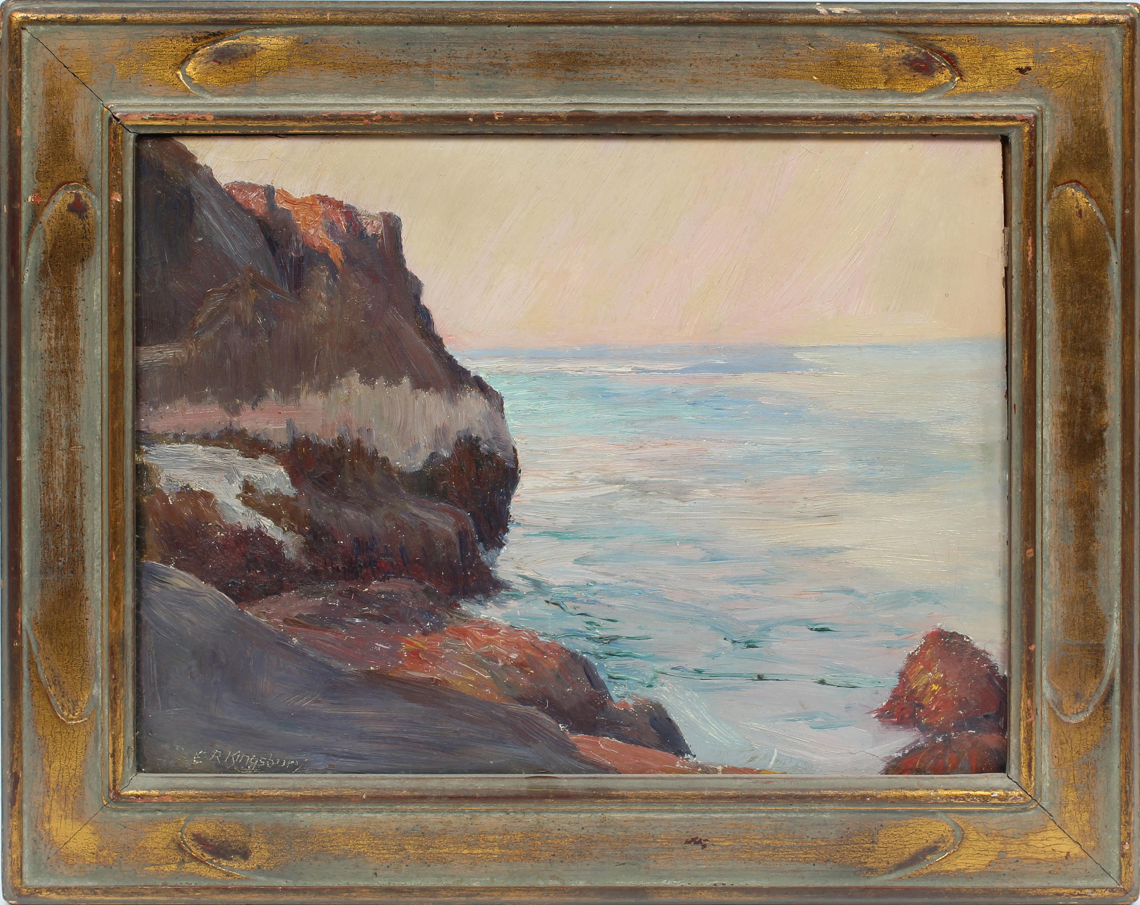 Antique American Impressionist Sunset Seascape Signed Ocean Beach Oil Painting