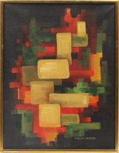 Antique American Female Modernist Abstract Geometric Wisconsin Rare Oil Painting