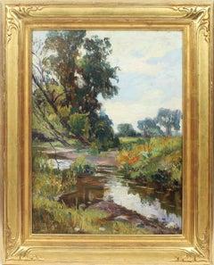 Antique Large American Impressionist Signed Giltwood Frame Landscape Painting
