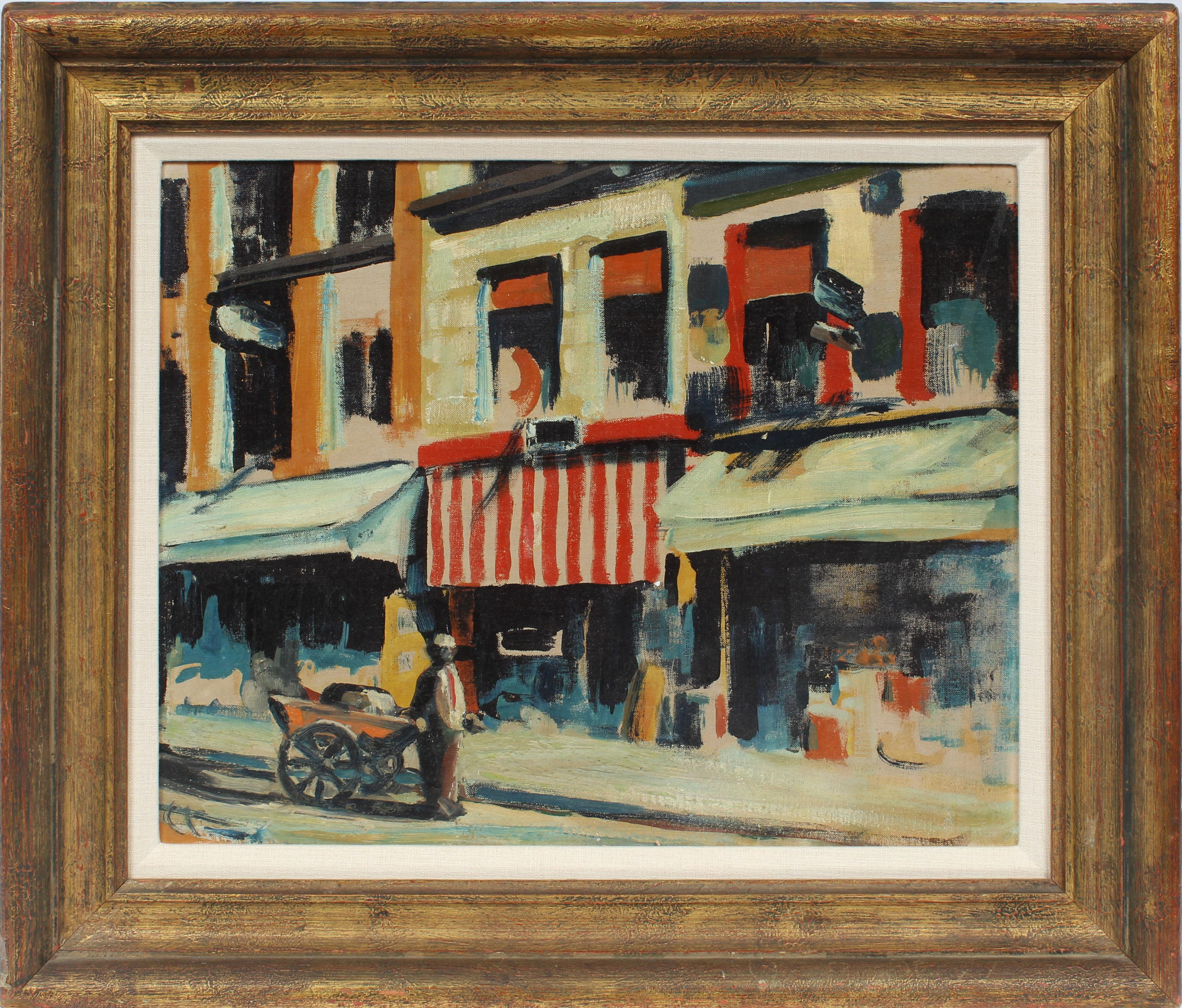 Antique Modernist New York City Downtown Street Scene Original WPA Oil Painting