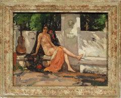 Antique Sunlit Impressionist Exhibited Nude Woman Landscape Original Painting