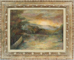 Antique American Female Modernist Sunset Valley Signed Landscape Oil Painting