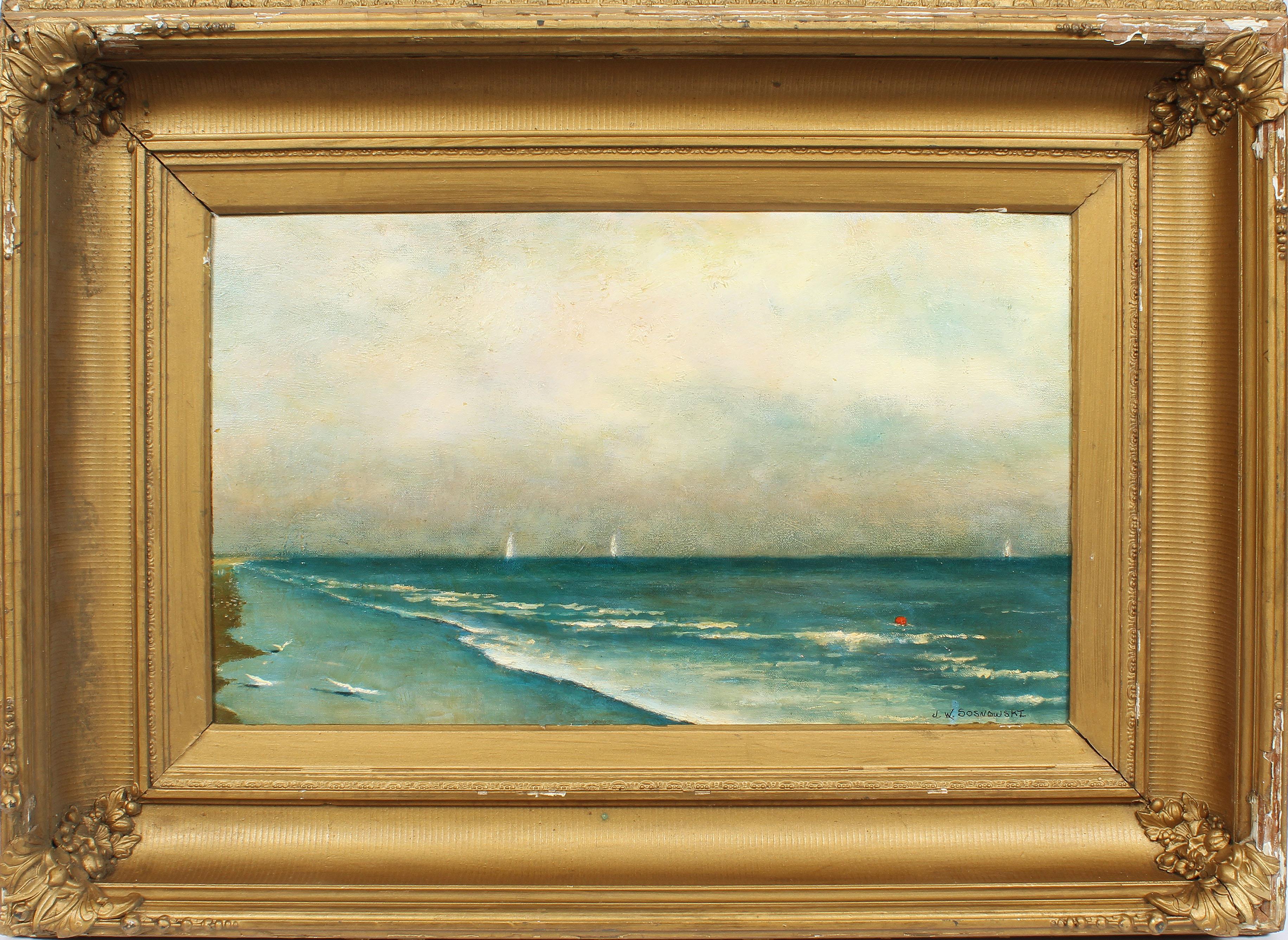 Vintage American Impressionist Coastal Beach Scene Signed  Original Painting