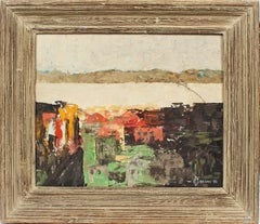 Vintage Mid Century Modern Nyack NY Modernist Abstract Cityscape Oil Painting