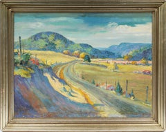 Rare Antique American Tennessee Regionalist Flower Landscape Signed Oil Painting