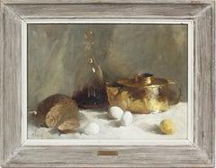 Antique American Modernist Exhibited Signed Kitchen Still Life Eggs Wine & Bread
